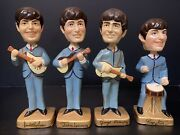 Vintage 1964 Beatles Bobbleheads Nodders Set Of 4 Car Mascots Collectible