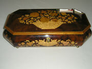 Vtg 15and039and039 Italian Inlaid Wood Reuge Music Jewelry Box Swiss Movement Wkey Italy