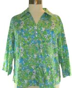 Plus Sz 22w Foxcroft Wrinkle Free Shaped Fit Floral Blouse 3/4 Sleeve Green Blue
