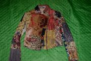 Roberto Cavalli Rare Quilted Embroidered Jacket 40 It 4-6us