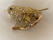 Magnificent English 1900and039s 18k Gold Diamond Sapphire Bird Brooch Signed Ewandco