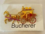 Magnificent Bucherer Swiss 18k Gold Diamond Ruby Carriage Brooch 'must See'