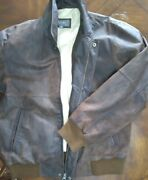Restored 80and039s Distressed Genuine Heavy Leather Bomber Jacket M Vintageoldstock