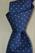 225 Nwot Turnbull Asser Navy W/ Multi Color Spots Classic Lace Silk Tie England
