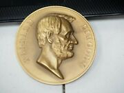 Abraham Lincoln U.s. Mint Issued Huge Bronze High Relief Table Medal By Morgan