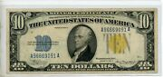 Fr-2309 1934 A Series North Africa Wwii 10 Ten Dollar Silver Certificate 9091