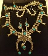 Squash Blossom Sleeping Beauty Turquoise .925 Sterling Silver Necklace Earrings