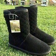 New Bearpaw Leigh Ann Black Suede Snow Quilted Boots Sheepskin Size 7