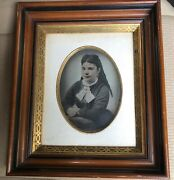 Pair Full Plate Colored Pennellograph Tintype Photographs Walnut Frames