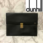 Dunhill Oxford Leather Briefcase Clutch Bag 27x17x7cm Used Man Fast Delivery