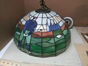 """Vintage 18"""" Golfers Designed Stained Glass Hanging Ceiling Lamp / Shade"""