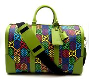Psychedelic Carry-on Duffle Bag In Green Leather