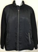 Robert Graham Jacket Navy Full Zip Silky Front Knit Sleeves And Back Size Xxl