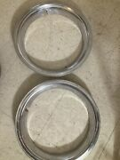 Vintage 15.5 Trim Ring Chrome Hubcaps Wheel Covers Rare Lot Of 2