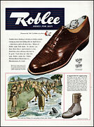 1944 Ww2 William Steig Art Roblee Combat Boots Menand039s Shoes Vintage Print Ad L9