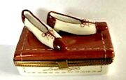 Vintage French Limoges Box Rochard Shoes With Shoebox Hand Painted Signed