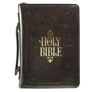 Bible Cover-classic/holy Bible-medium-brown