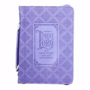 Bible Cover-classic Luxleather-trust In The Lord-medium-lavender