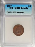 1887 Indian Head Cent Ddo Fs-101 Icg Ms-60 Details