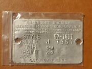 1957 Chevy Body By Fisher Cowl Tag Plate Original Style 57-1011
