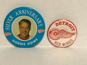2 Vintage Detroit Red Wings And Gordie Howe Pinback Button 1970and039s Hockey