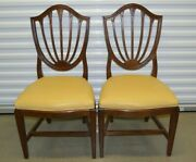 Rare Ethan Allen Georgian Court Dining Chairs Shield Back Leather 11-6202 225 C