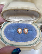 Lovely Antique/vintage Hand-carved 14 Kt. Rose Gold Petite Cameo Shell Earrings
