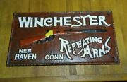 Rare Antique 1921 Winchester Repeating Arms Cast Iron Sign Made In New York