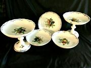 Antique Meissen 5 Serving Porcelain Items Hand Painted With Frutes Flowers