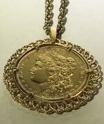 1883 Silver Morgan Dollar Gold Plated One Us Dollar Coin Pendant Necklace Chain