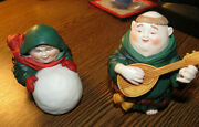 Dept 56 Merry Makers Figurines - Sebastian The Snowball Maker And Martin The...