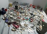 Huge Junk Drawer Lot Silver Silverplate Jewelry Coins Buttons