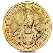 2017 Great Britain 1 Oz Gold Queenand039s Beasts Griffin Coin .9999 Fine Bu