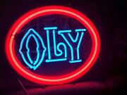 Rare 70and039s Vintage Oly Neon Sign Olympia Beer Neon Bar Mancave Lighted Display