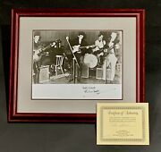 Framed 8x10 Photo Of Drummer Autographed Pete Best Signed Coa B/w Early Beatles