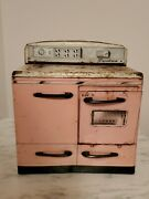Vintage Signature Pink Tin Stove Oven Range Childs Toy