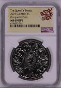 Ngc Ms69pl Great Britain The Queen's Beasts Completer 2021 Uk £5 Bu Coin