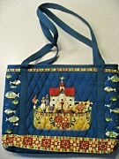 Jim Shore Heartwood Creek 2005 Noah's Ark Quilted Tote Bag Retired And Blue