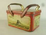 43480 Old Vintage Antique Tin Lunch Box Pail Tinplate Toy Aeroplane Train Boat