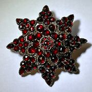 Victorian Garnet Star Brooch Gold Back Gold Plated Silver Front 1-11/16 Tall
