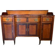 Early 19th C Sheraton Sideboard In Mahogany And Curly Maple
