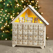 Glitzhome Handcrafted Led Wooden Count Down Advent Calendar Farmhouse W/drawers