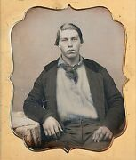 Handsome Sailor / Miner With Blue Tinted Work Shirt 1/6 Plate Daguerreotype H453