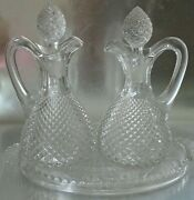 Vintage Oil And Vinegar Clear Glass Diamond Pattern Cruets Glass Stoppers And Tray