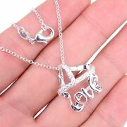 925 Sterling Silver Tarnish-resist Love Crown Pendant +necklace Chain Set C628