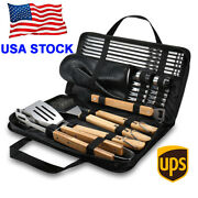 23pcs Bbq Tools All In One Set Wood Utensil Grill Accessories Barbecue With Case
