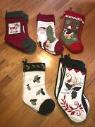 New W/o Tags Lot Of 19 C And F Design Christmas Stockings Vintage Quilted Rt 570