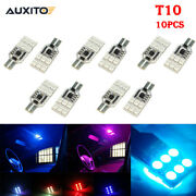 10x T10 194 168 Led Rgb Multicolor Wedge Interior Map Dome Cargo Lights Bulb Kit