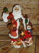 Vintage Santa Claus Light Up Lamp Star Cut Outs 13 Holiday Christmas Decoration
