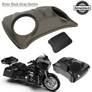 River Rock Gray Denim 8and039and039 Speaker Lids For Advanblack/harley Chopped Tour Pack
